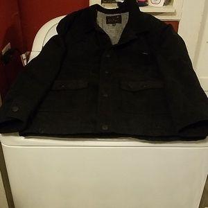 Mens quiksilver black button up jacket coat sz L